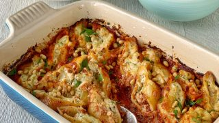 Tuna and ricotta baked pasta shells