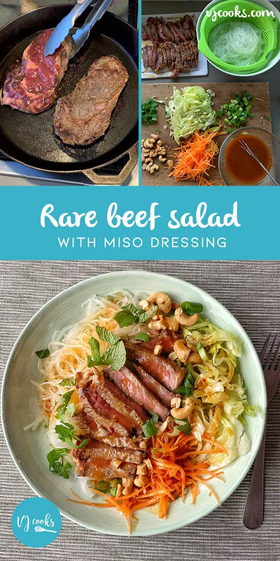 Rare beef salad with miso dressing