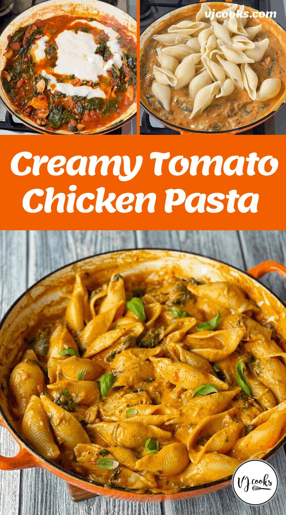 Creamy Tomato Chicken Pasta Shells