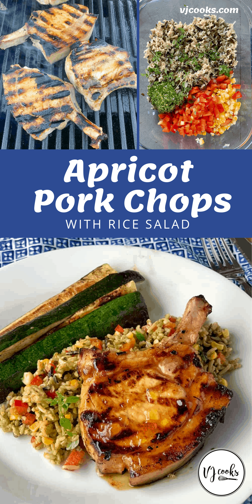 APRICOT PORK CHOPS WITH RICE SALAD