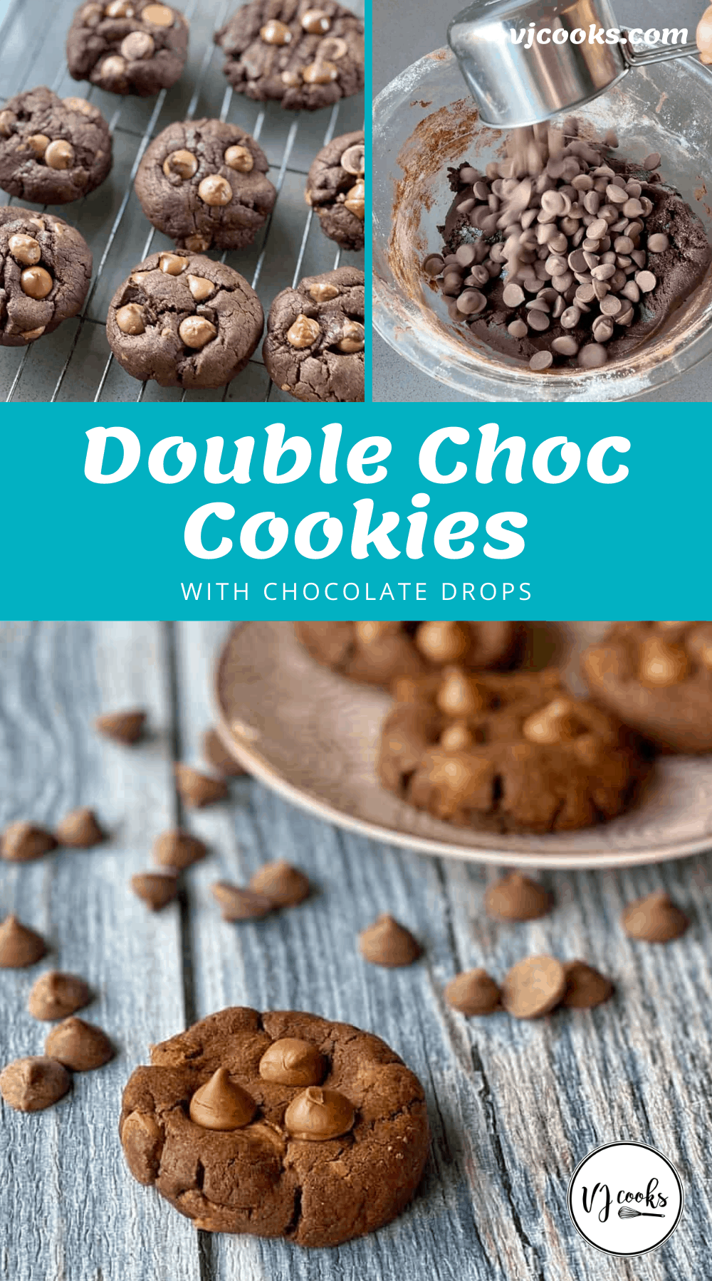 Double choc drop cookies