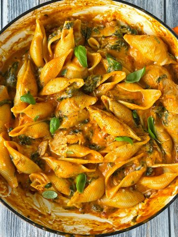 close up of Creamy chicken pasta shells in a pan