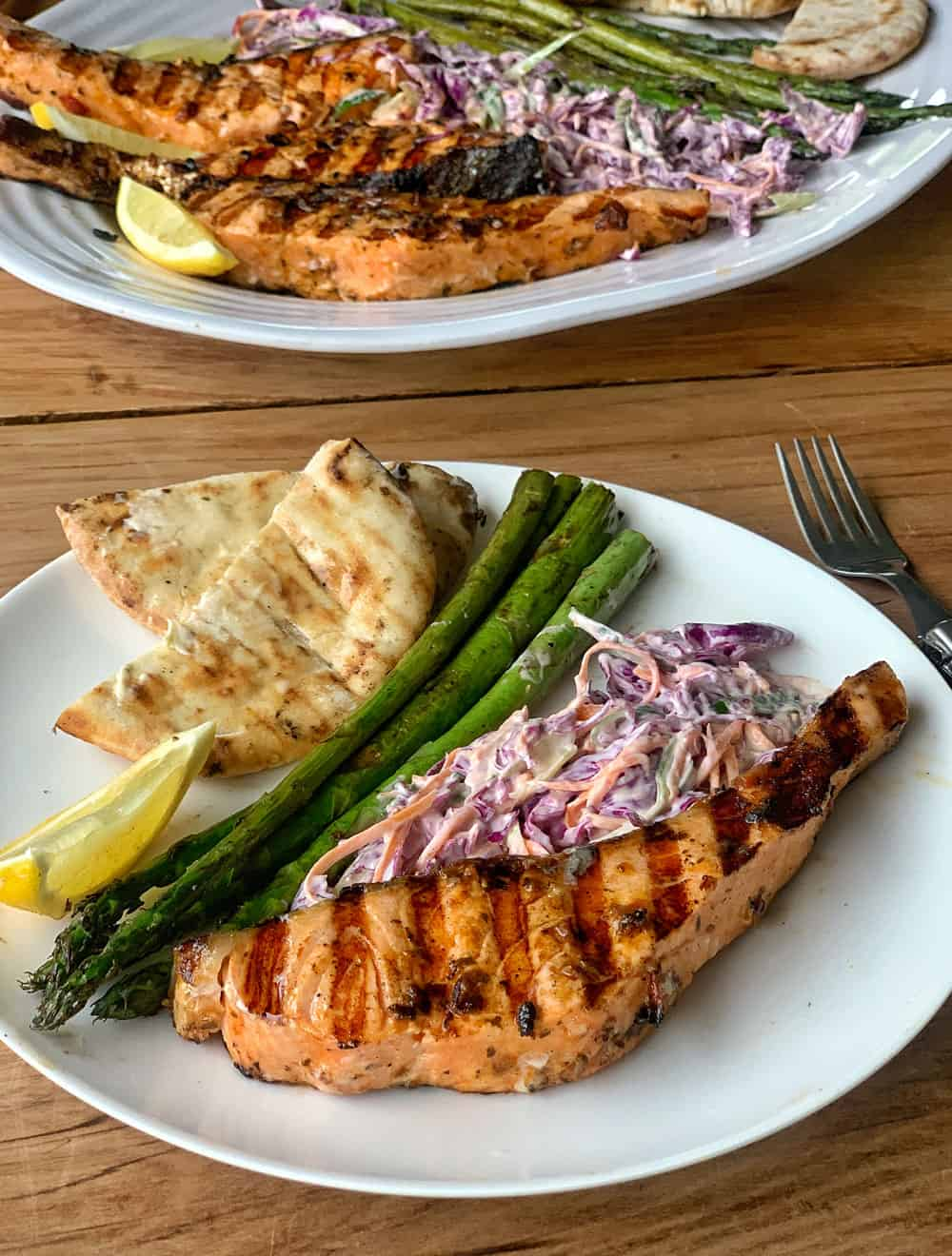BBQ Pesto salmon with Slaw