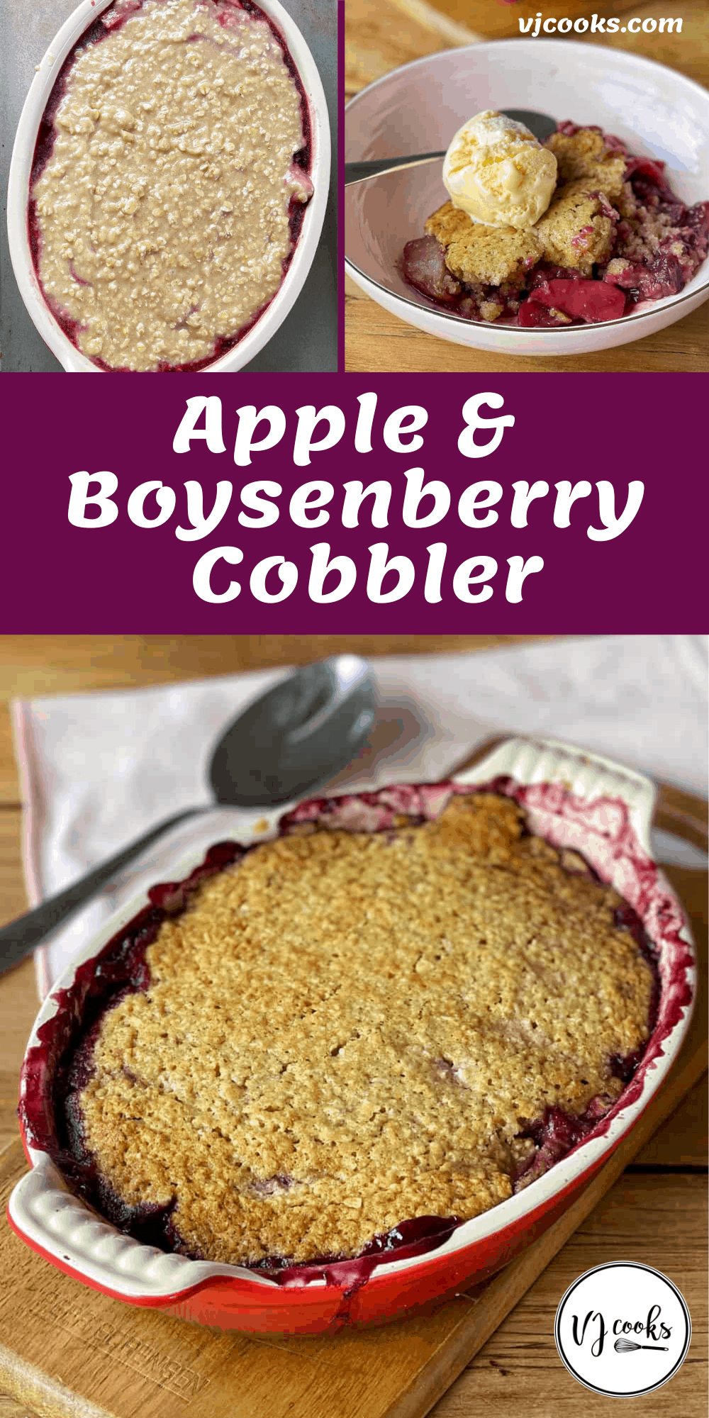 Apple and boysenberry cobbler