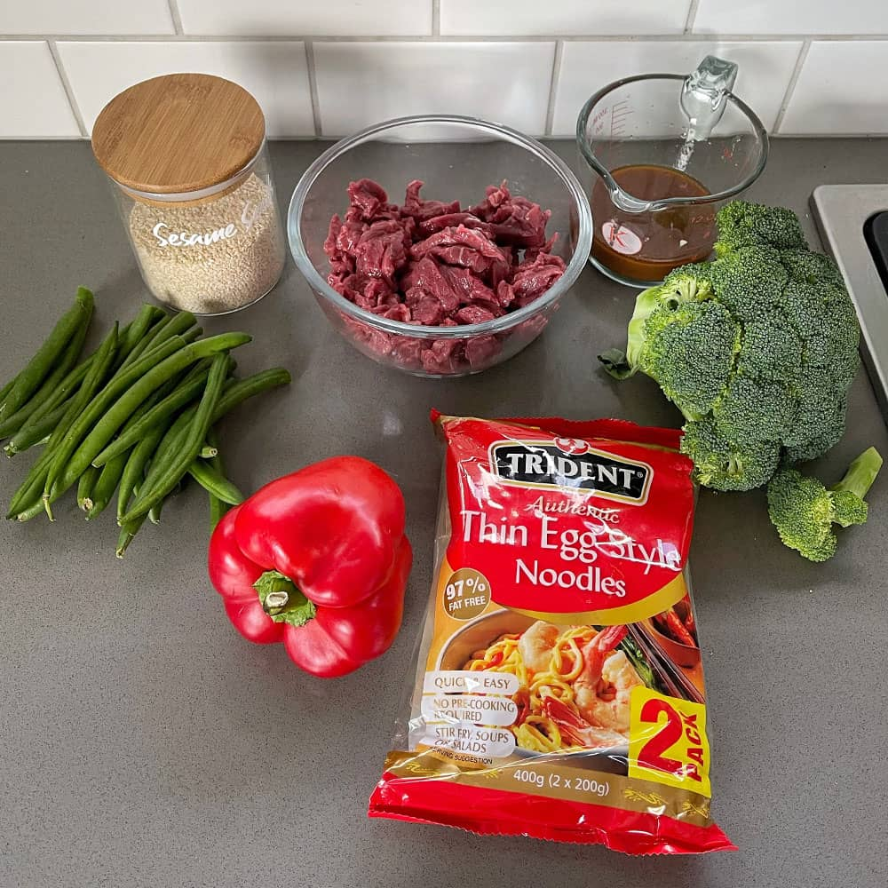 Beef and noodle stir fry