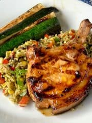 Apricot pork chops and rice salad