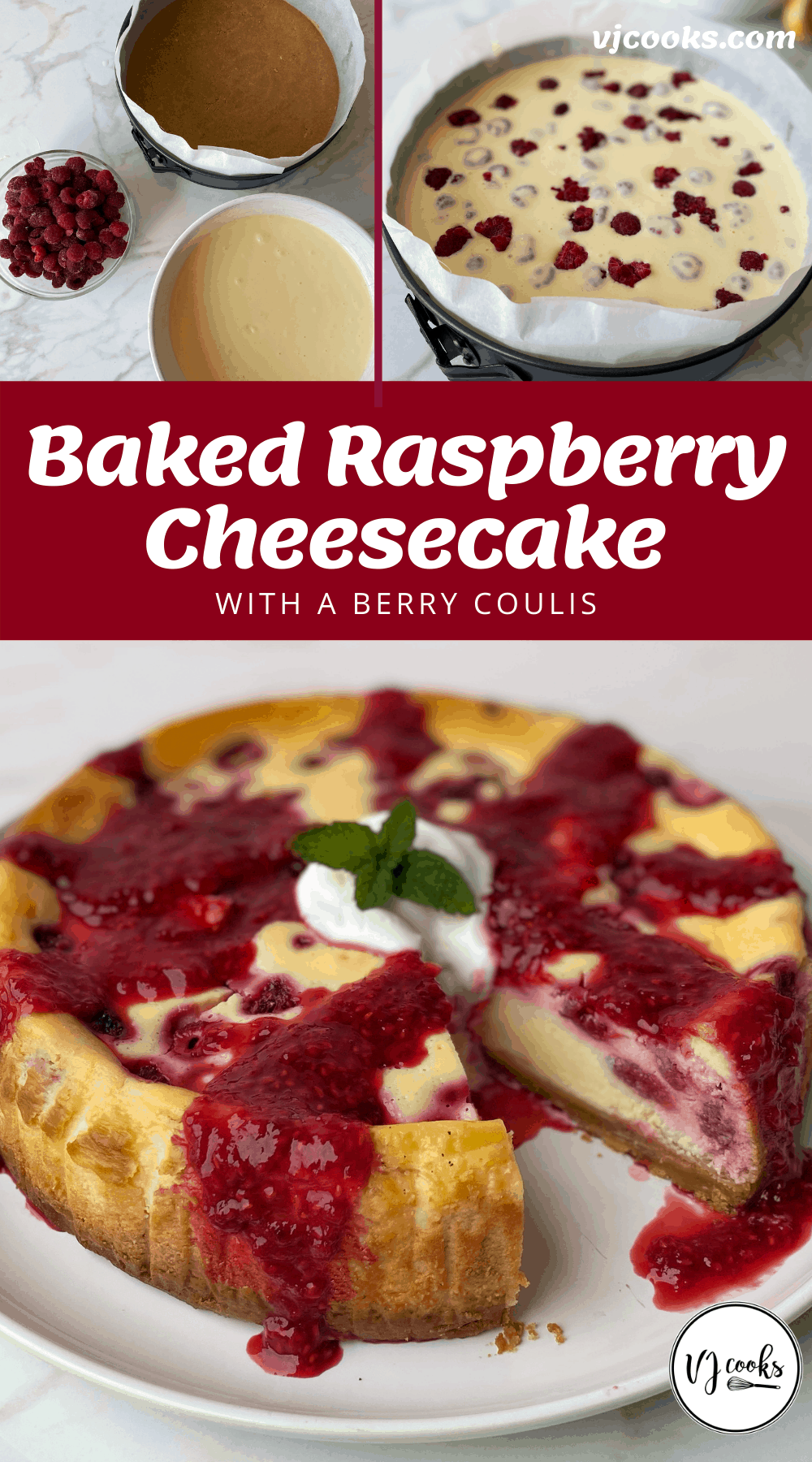 The process of making and baking a raspberry cheesecake.