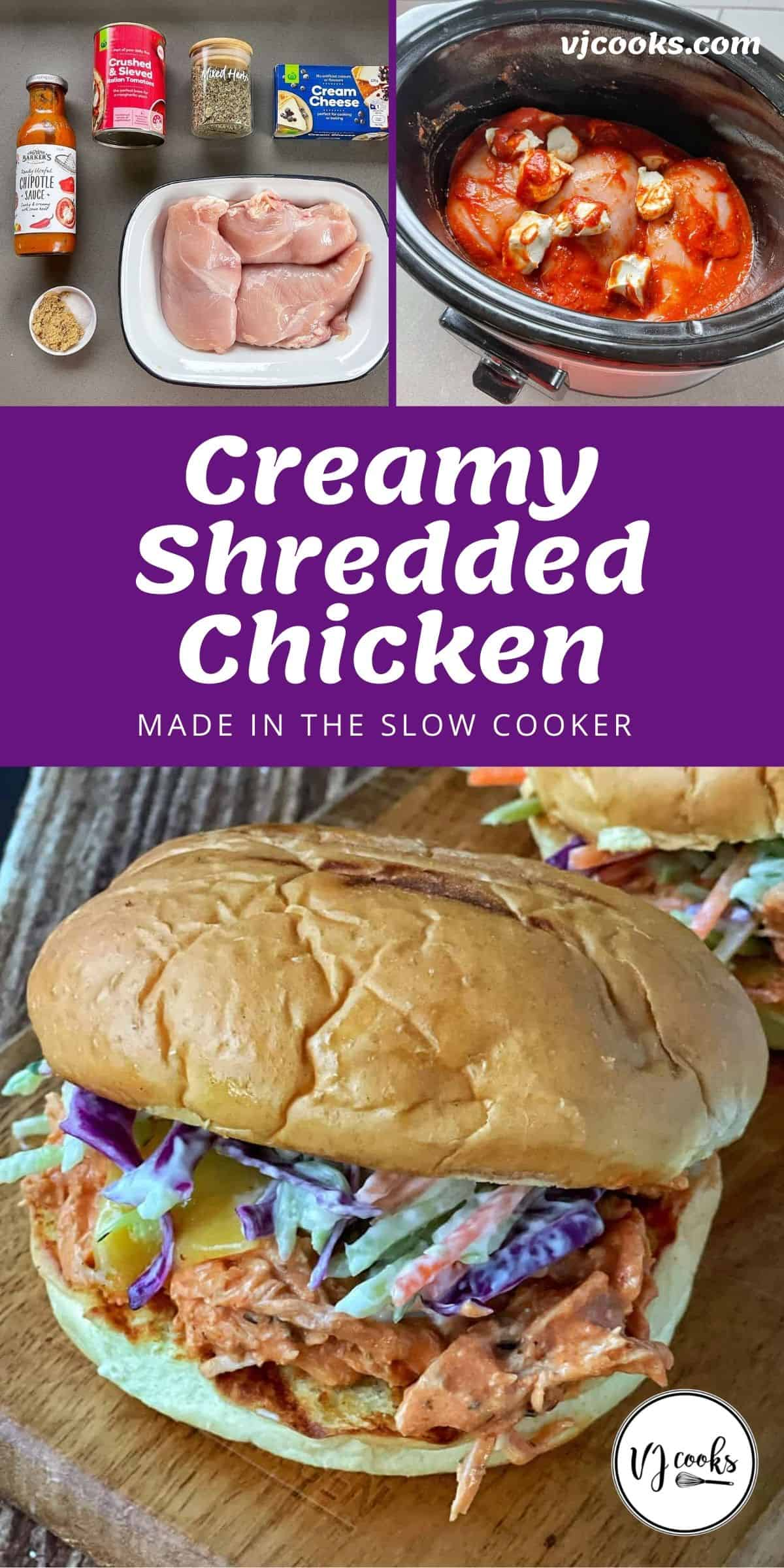The process of making and serving creamy shredded chicken