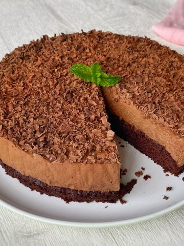 Chocolate Mousse Cake on a white plate