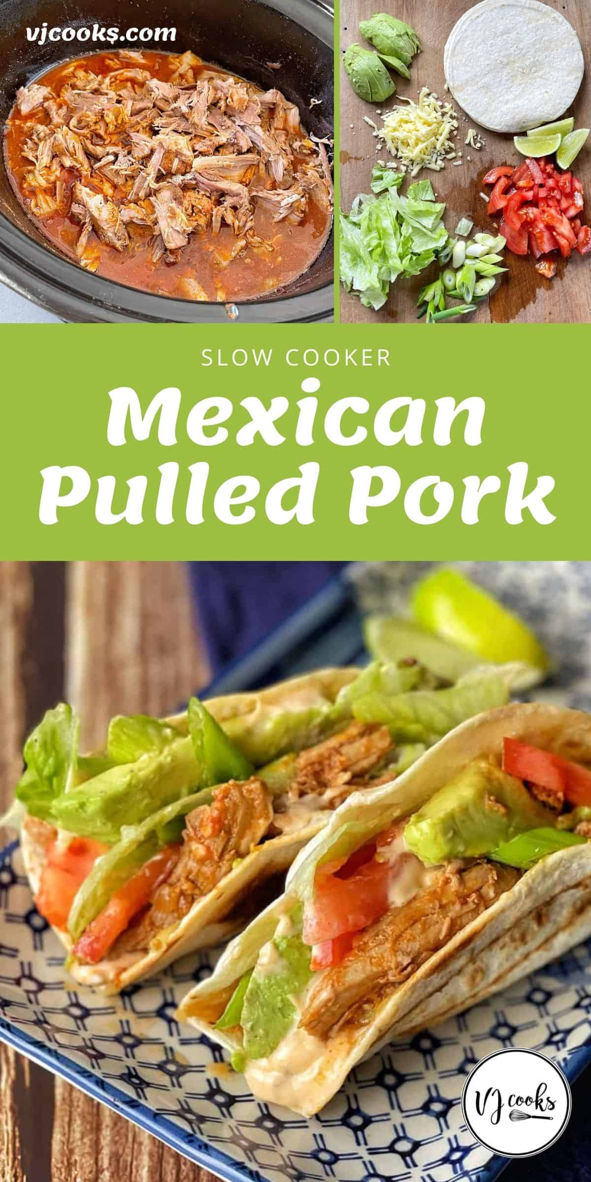 The process of making Slow Cooker Mexican Pulled Pork tortillas