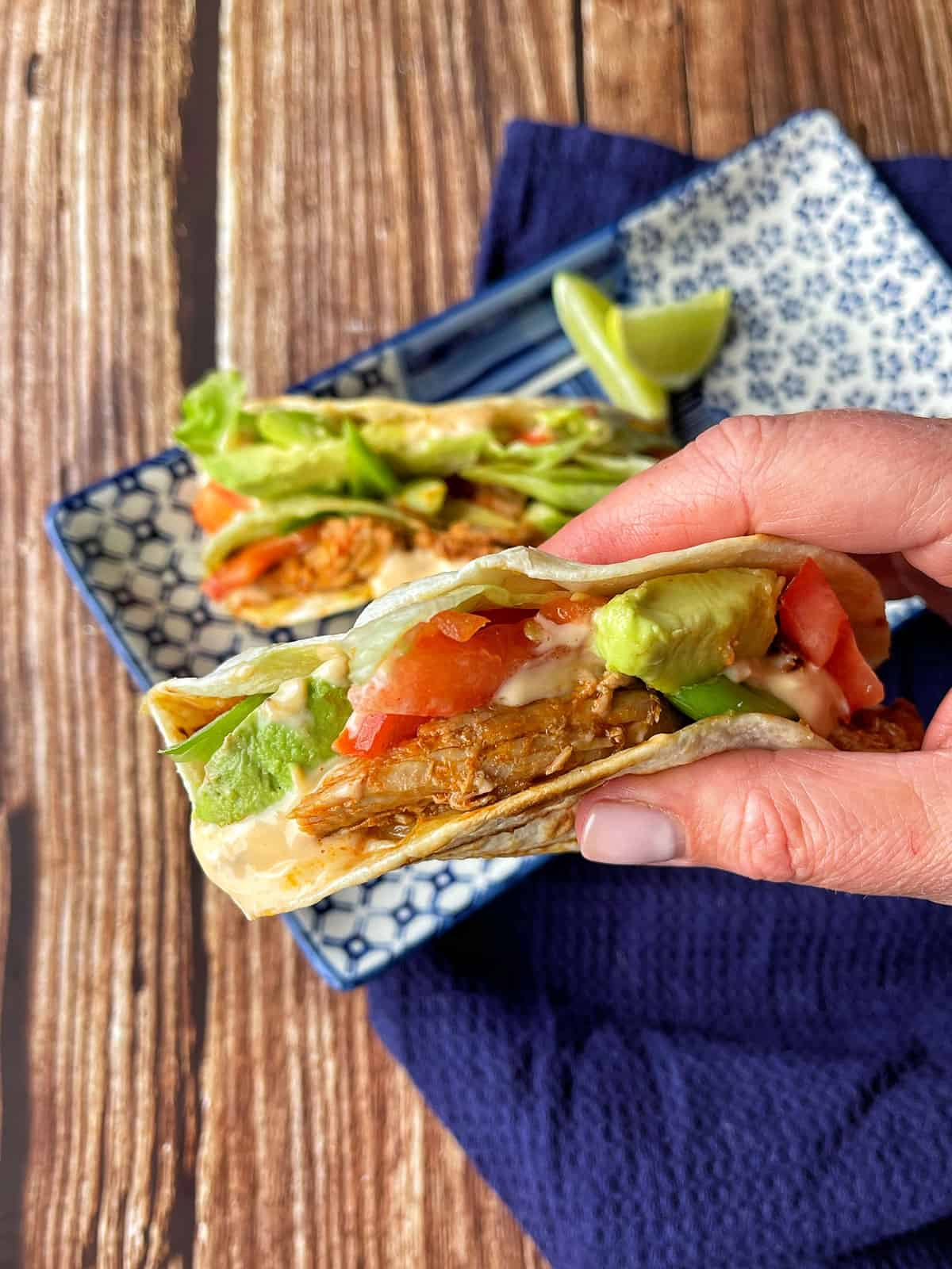 A hand holding a tortilla filled with pulled pork and salad.