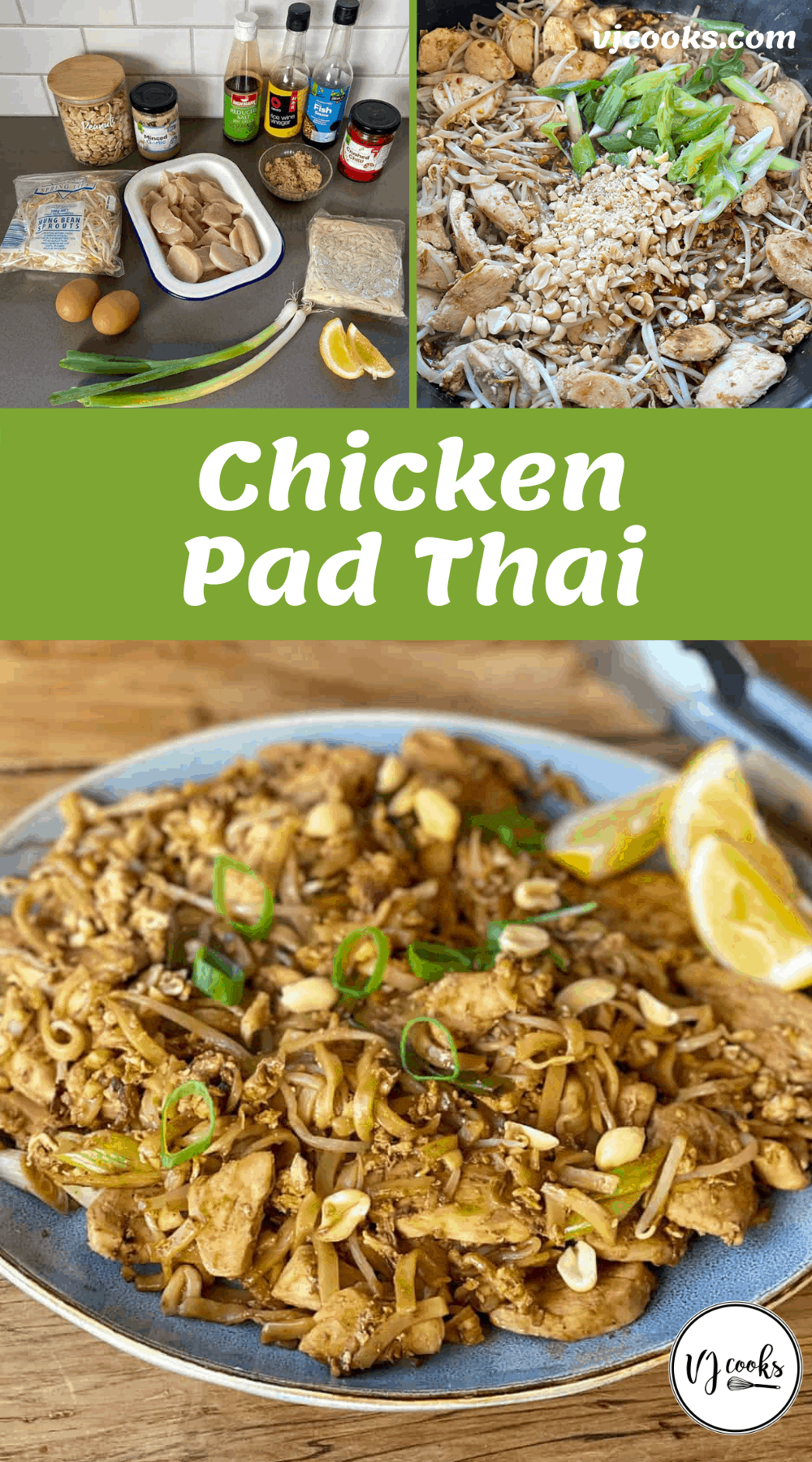 The ingredients for and process of making Chicken Pad Thai.