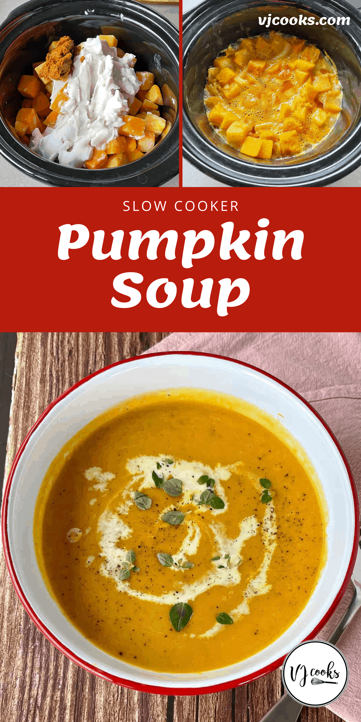 The process of making pumpkin soup in the slow cooker.