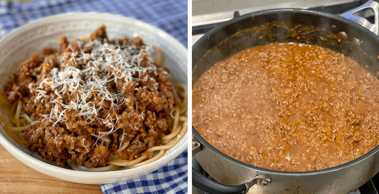 Spaghetti Bolognese cooking in a pan and served in a white bowl.