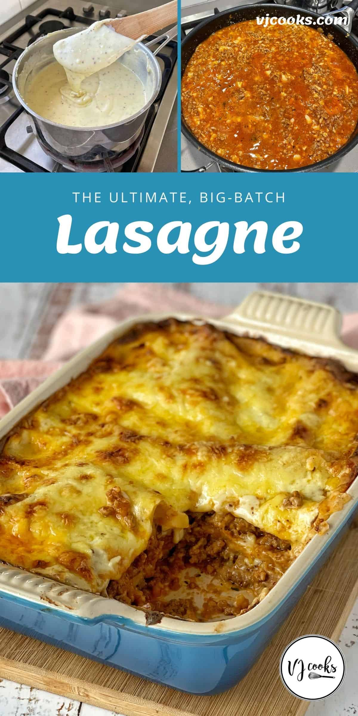 The process of making Lasagne and the finished product.