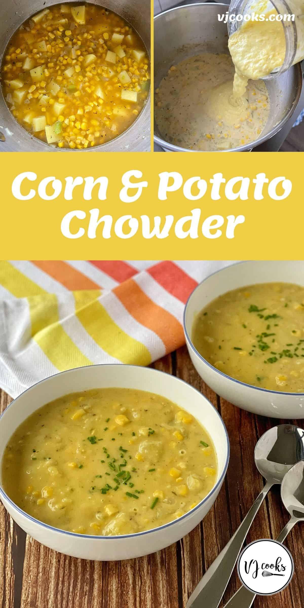 The process of making corn and potato chowder