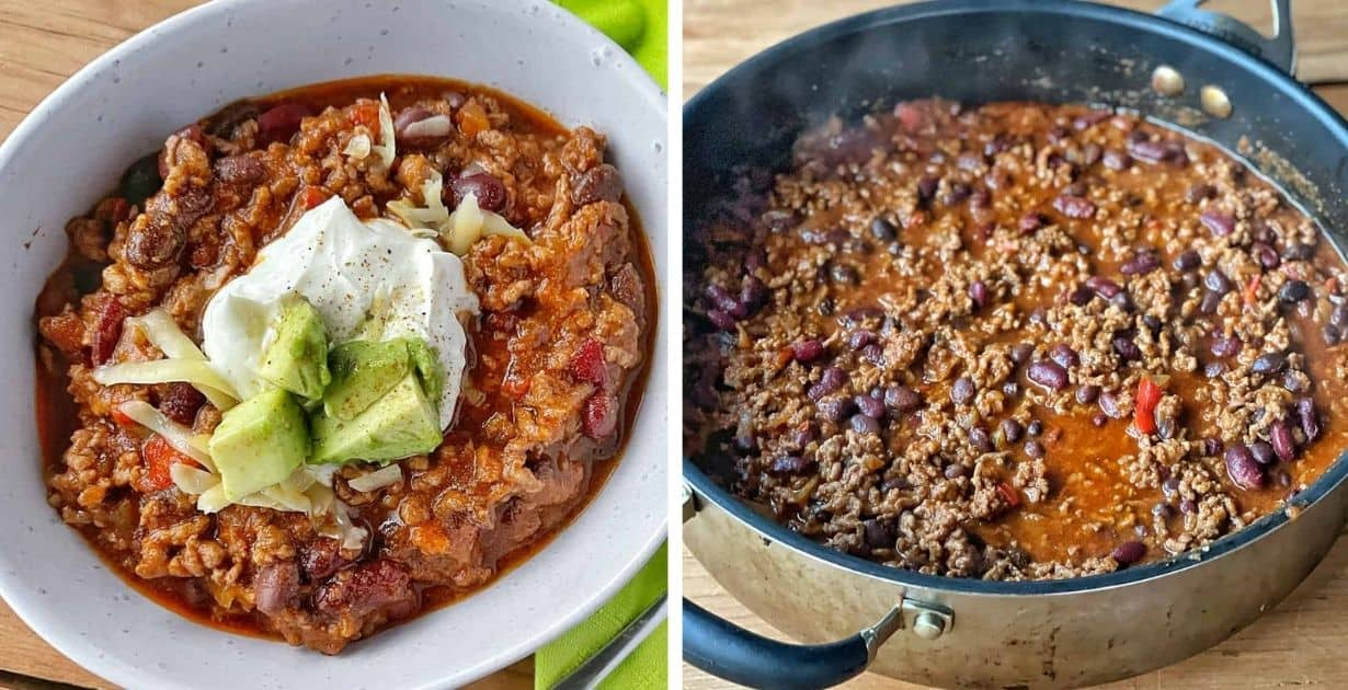 Chilli con carne served in a white bowl and in a frying pan.