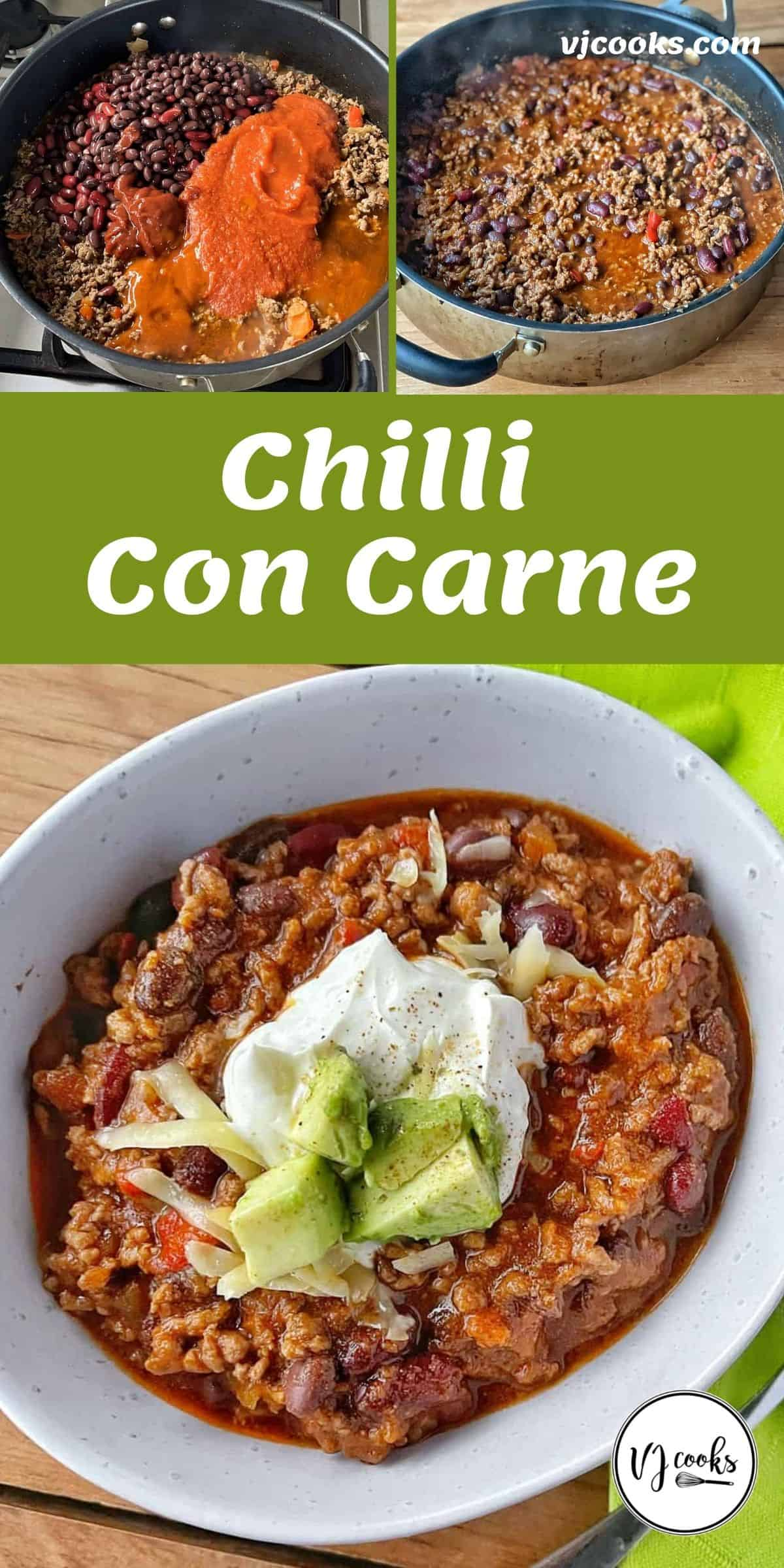 the process of making chilli con carne as well as teh finishe dproduct served in a white bowl.