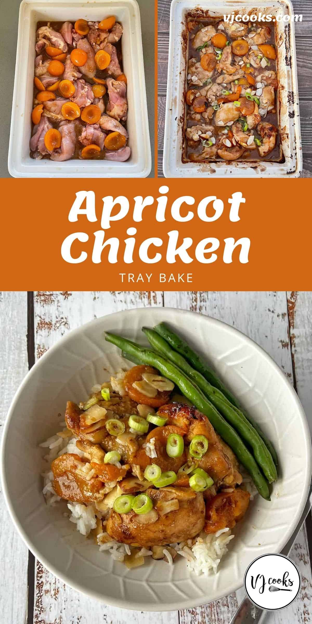 The process of cooking Apricot chicken tray bake.