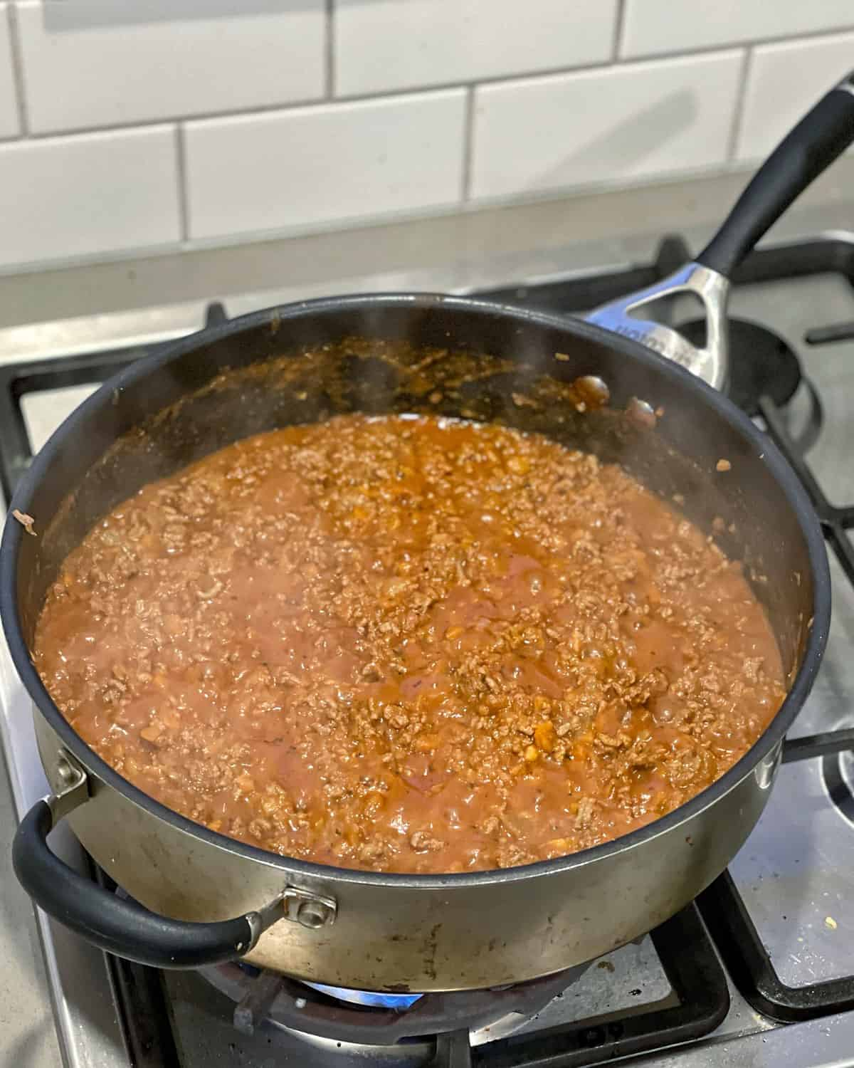 cooked bolognese in a pan.